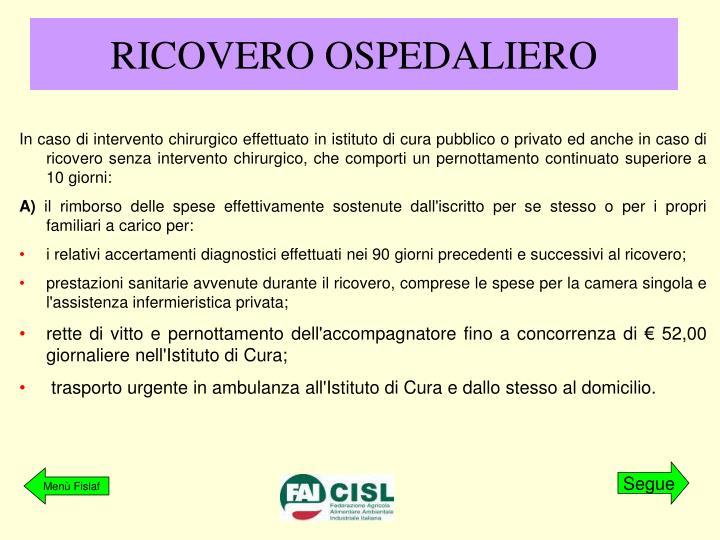 RICOVERO OSPEDALIERO