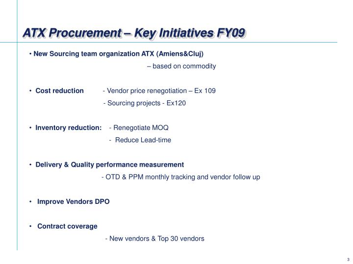 Atx procurement key initiatives fy09