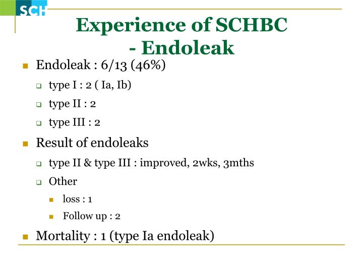 Experience of SCHBC