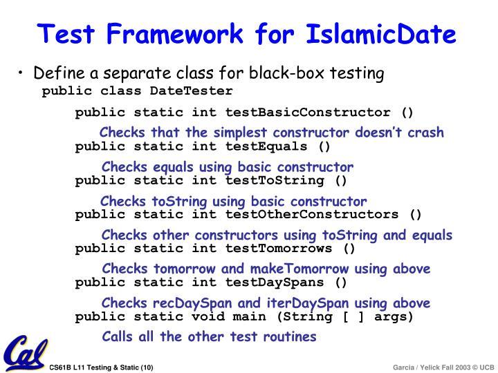 Test Framework for IslamicDate