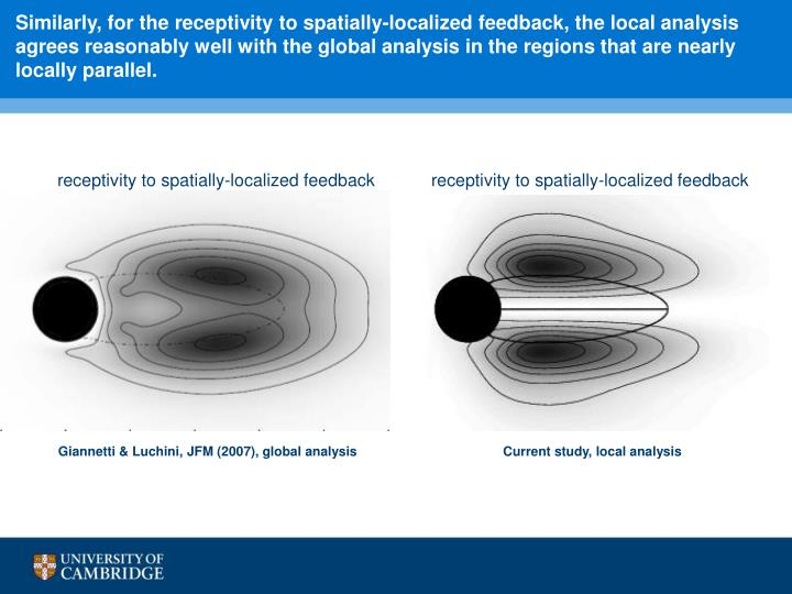 Similarly, for the receptivity to spatially-localized feedback, the local analysis agrees reasonably well with the global analysis in the regions that are nearly locally parallel.