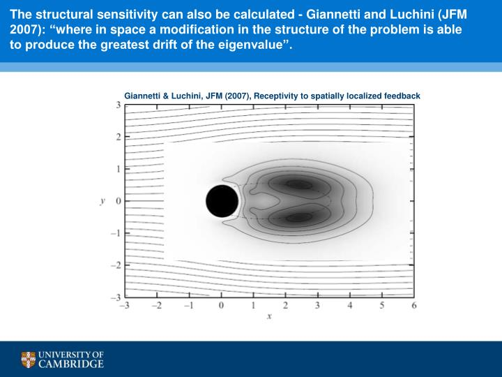 """The structural sensitivity can also be calculated - Giannetti and Luchini (JFM 2007): """""""