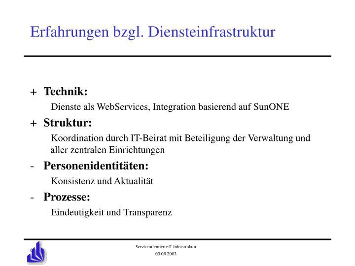 Erfahrungen bzgl. Diensteinfrastruktur
