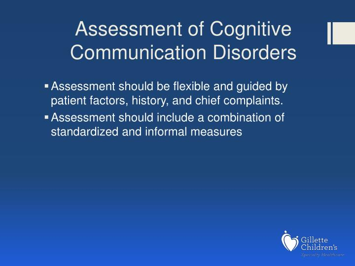 Assessment of Cognitive Communication Disorders