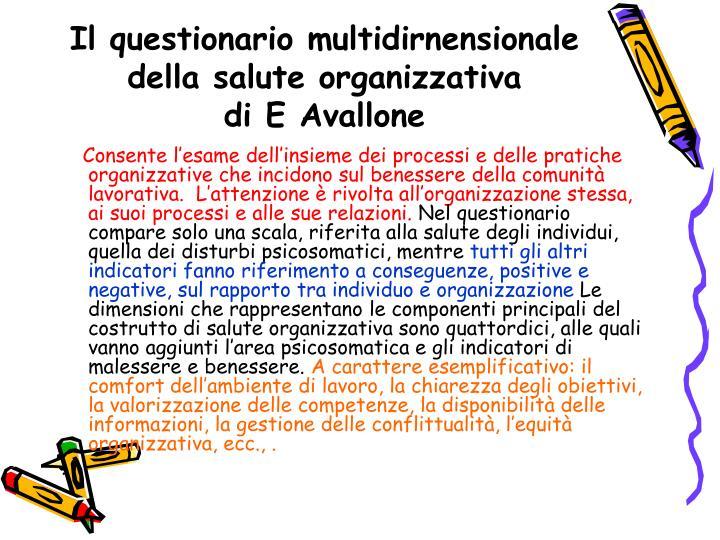 Il questionario multidirnensionale della salute organizzativa