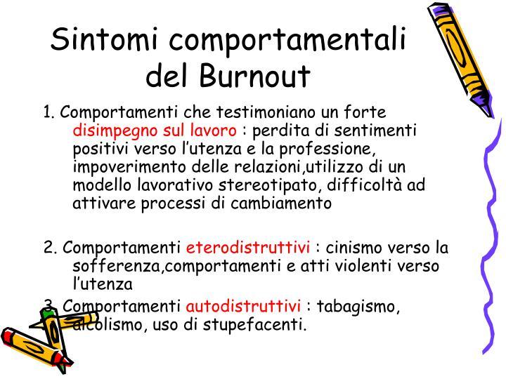 Sintomi comportamentali del Burnout