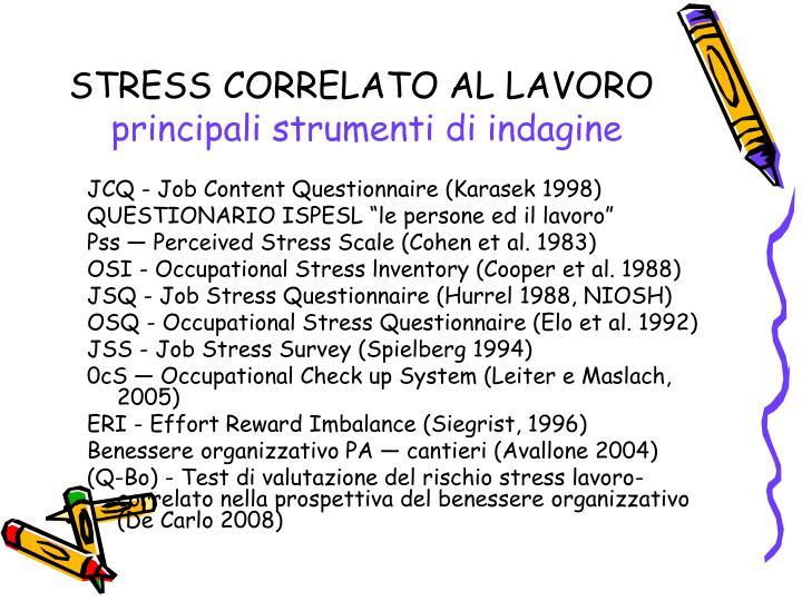STRESS CORRELATO AL LAVORO