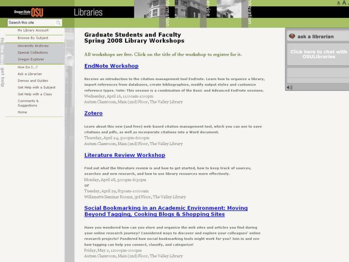 Screenshot of Current Workshop Offerings