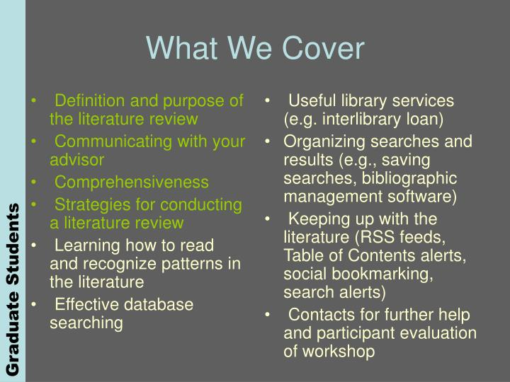 Definition and purpose of the literature review