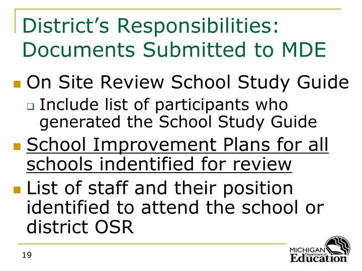 District's Responsibilities: