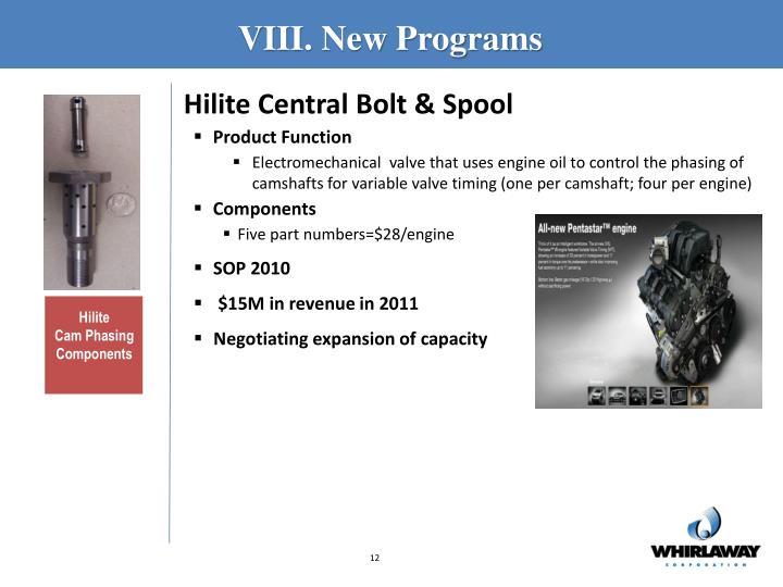 VIII. New Programs