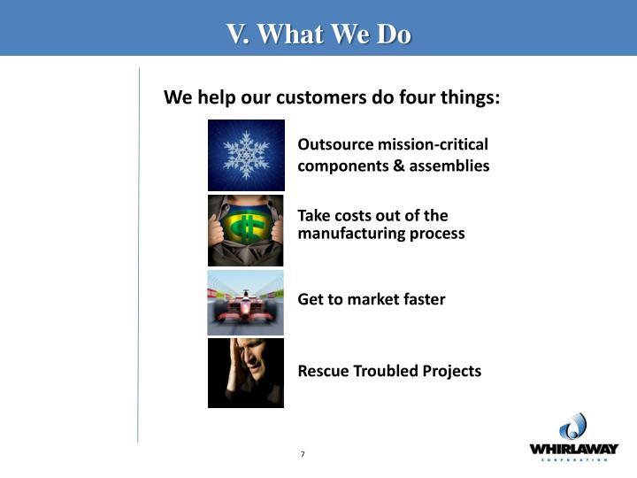 V. What We Do