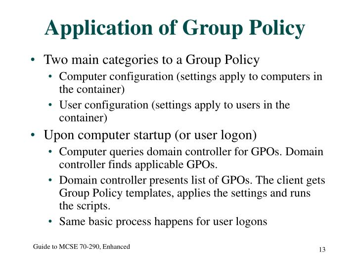 Application of Group Policy