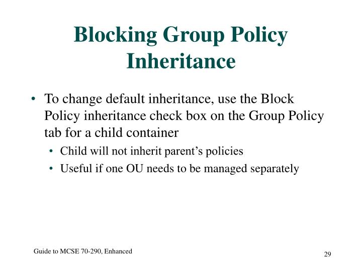 Blocking Group Policy Inheritance