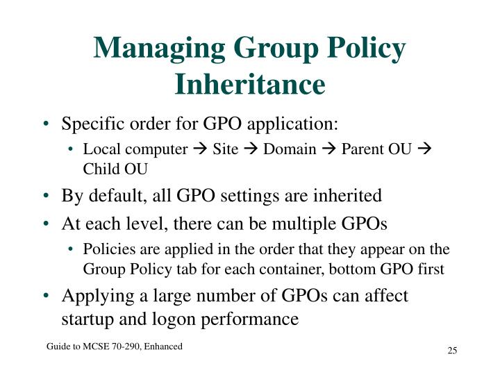 Managing Group Policy Inheritance