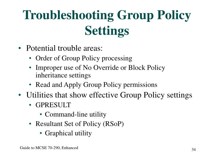 Troubleshooting Group Policy Settings