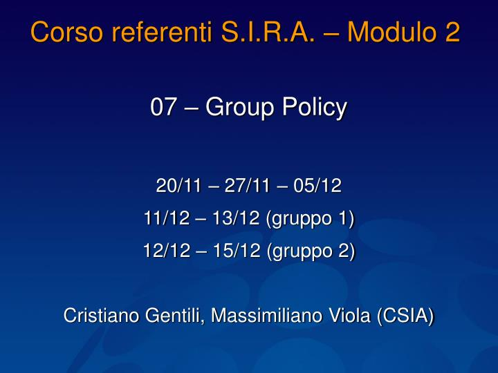 corso referenti s i r a modulo 2 n.