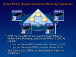 group policy objects and active directory containers