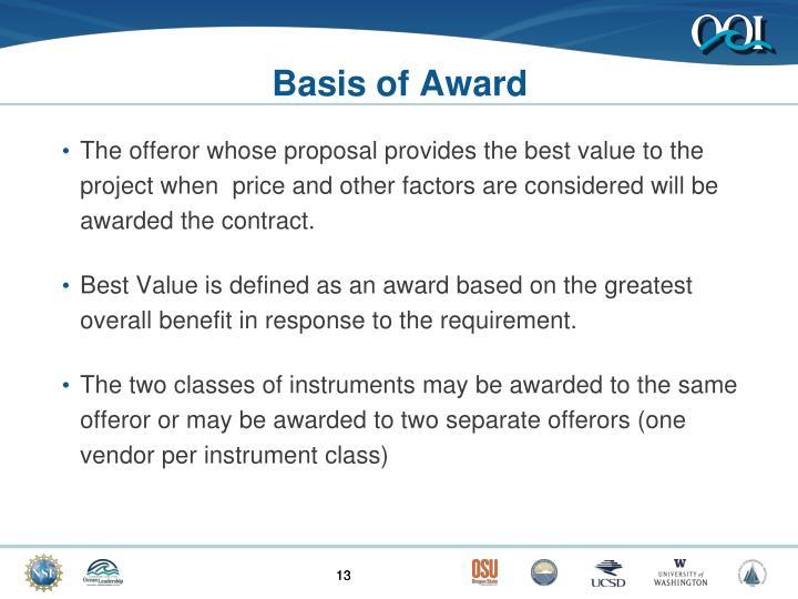 Basis of Award