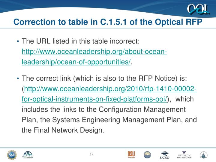 Correction to table in C.1.5.1 of the Optical RFP
