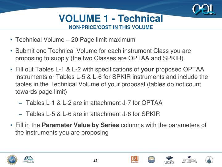 VOLUME 1 - Technical