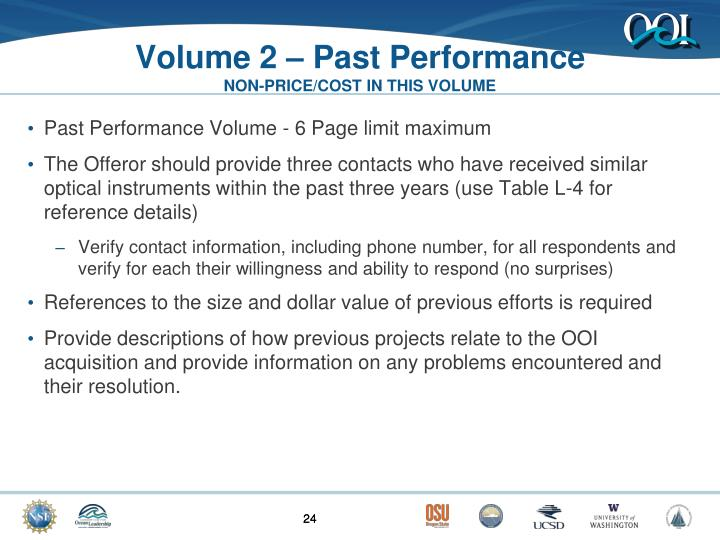 Volume 2 – Past Performance