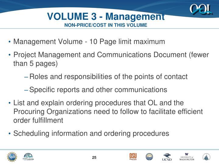 VOLUME 3 - Management