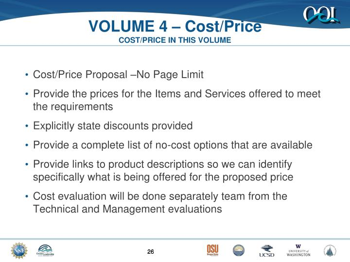 VOLUME 4 – Cost/Price