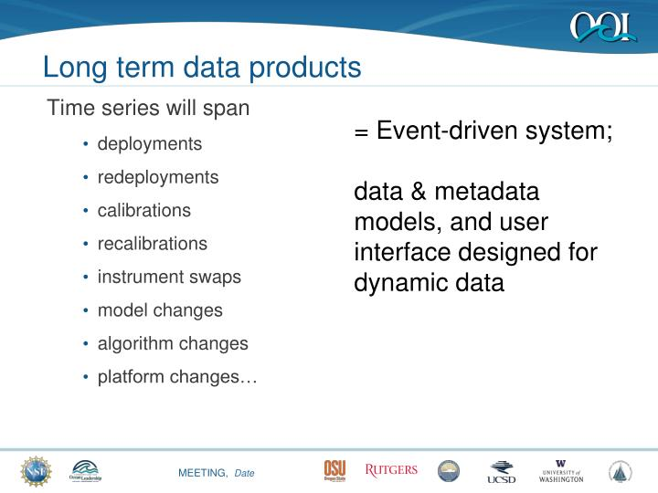 Long term data products