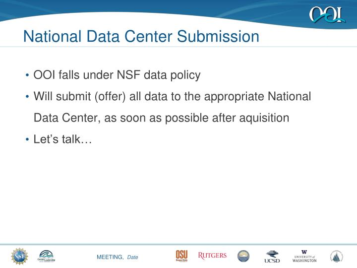 National Data Center Submission