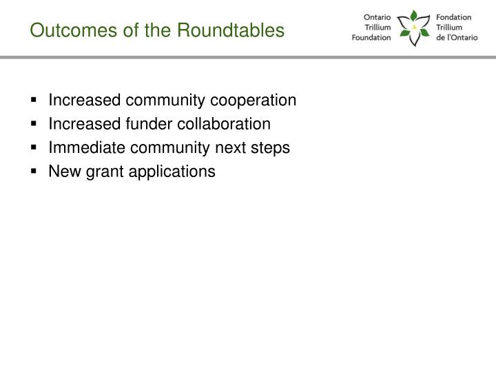 Outcomes of the Roundtables