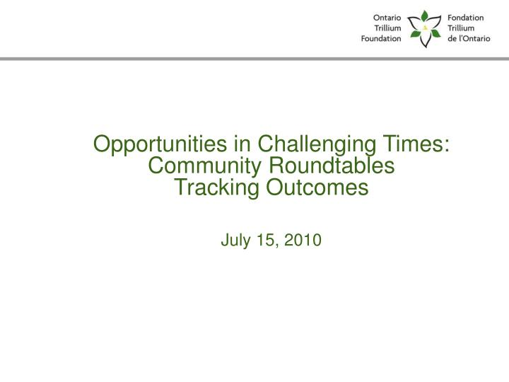 Opportunities in Challenging Times: