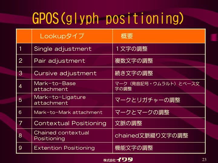 GPOS(glyph positioning)