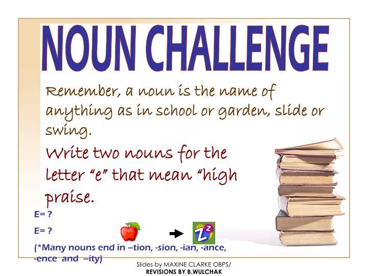 NOUN CHALLENGE