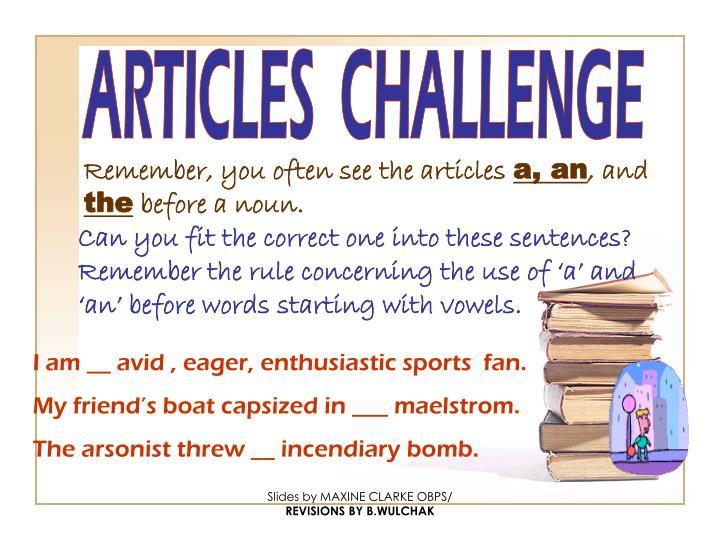 ARTICLES  CHALLENGE