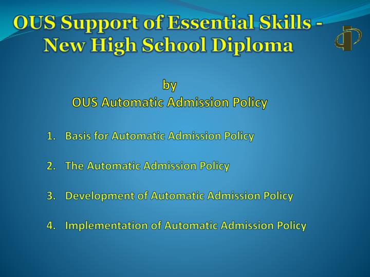 Ous support of essential skills new high school diploma