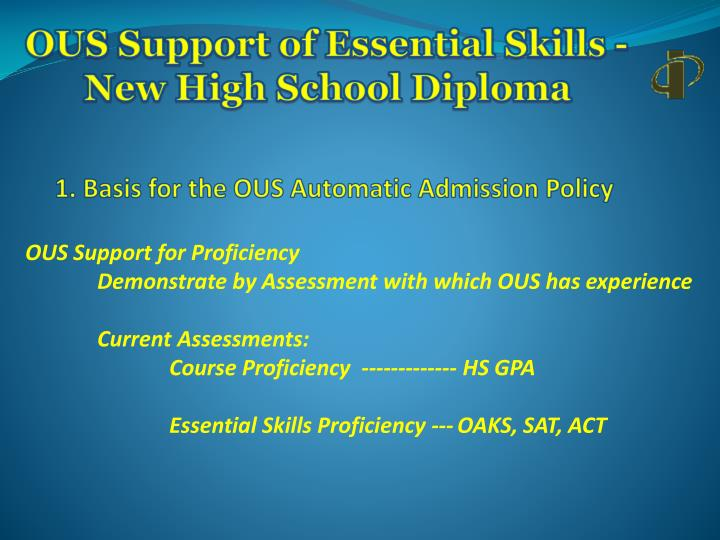 Ous support of essential skills new high school diploma1
