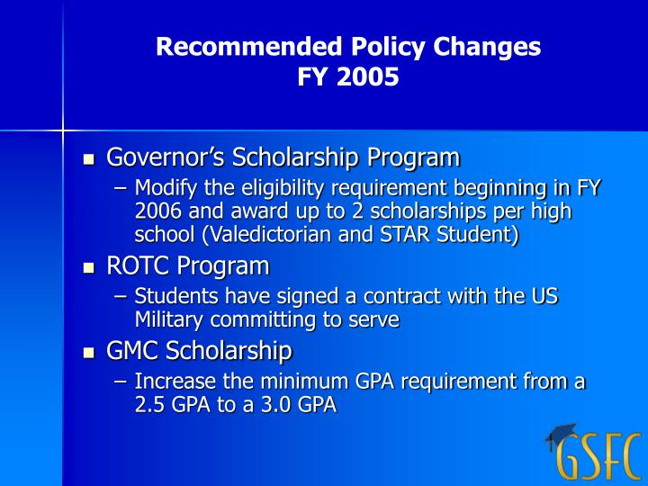 Recommended Policy Changes