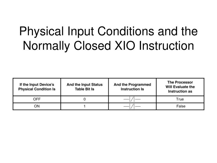 Physical Input Conditions and the Normally Closed XIO Instruction