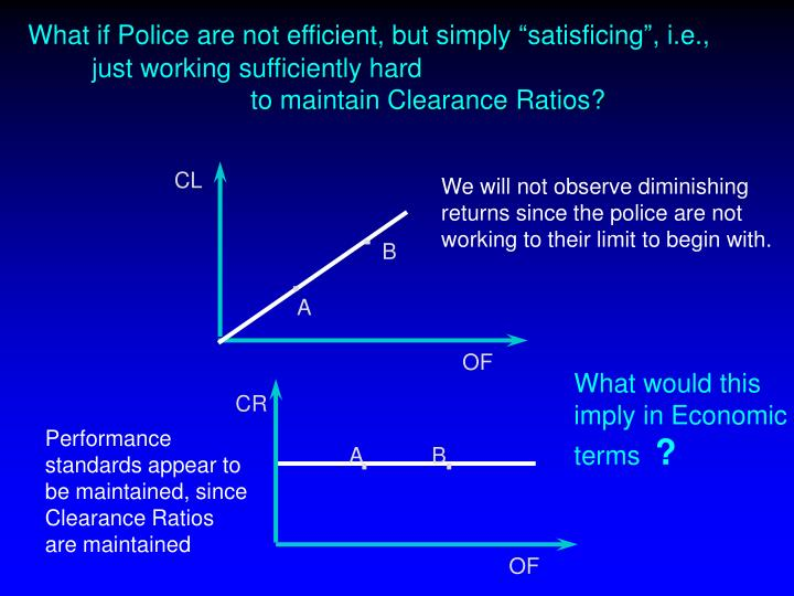 "What if Police are not efficient, but simply ""satisficing"", i.e., 		just working sufficiently hard"