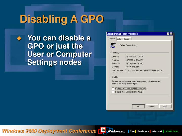 Disabling A GPO