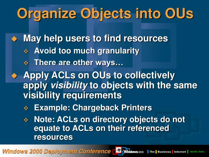 Organize Objects into OUs