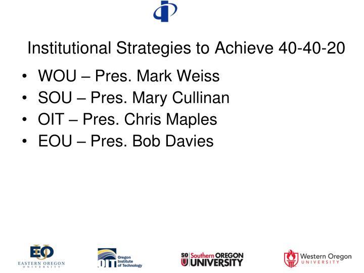 Institutional Strategies to Achieve 40-40-20
