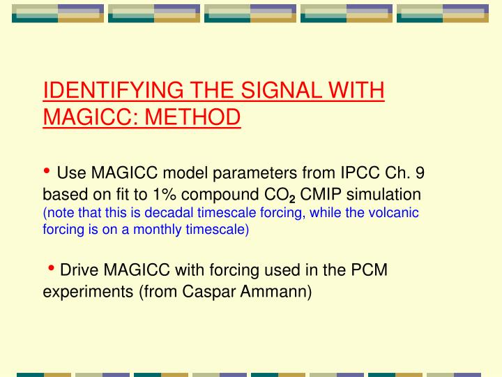 IDENTIFYING THE SIGNAL WITH MAGICC: METHOD