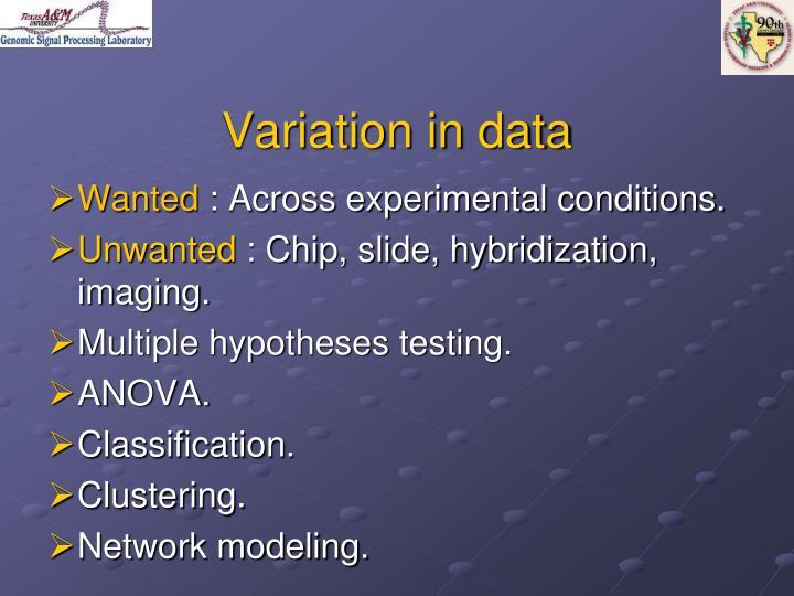 Variation in data