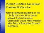 p ko a council has advised president mcclain that