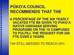 p ko a council recommends that the