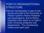 p ko a organizational structure