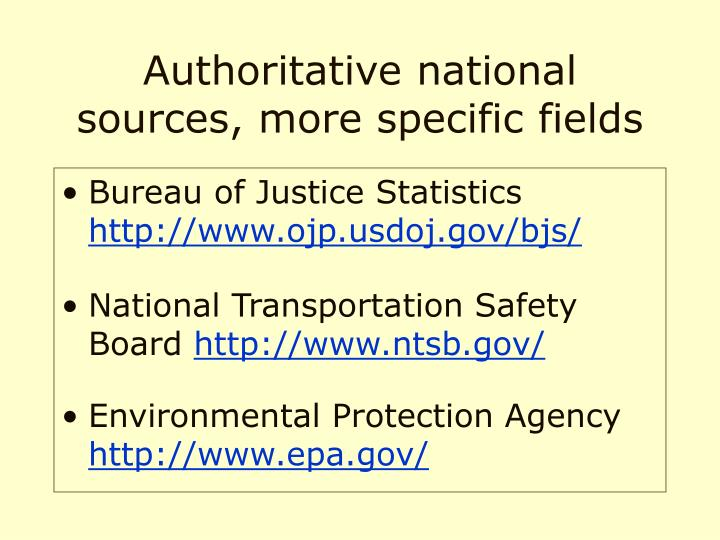Authoritative national sources, more specific fields
