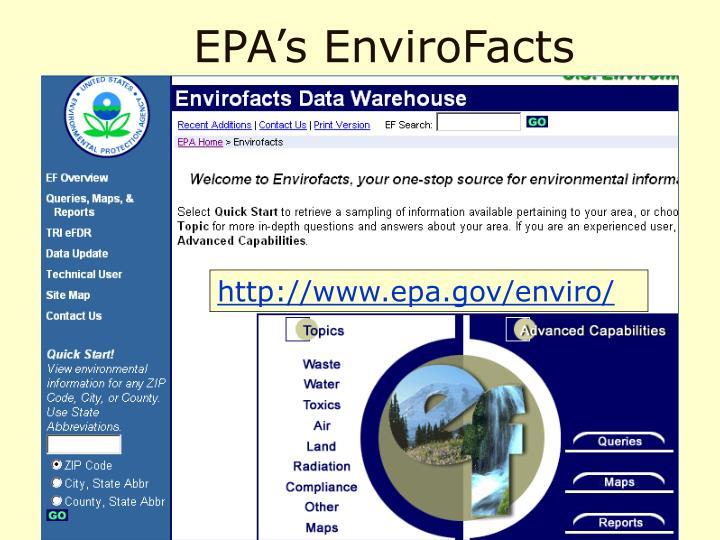 EPA's EnviroFacts